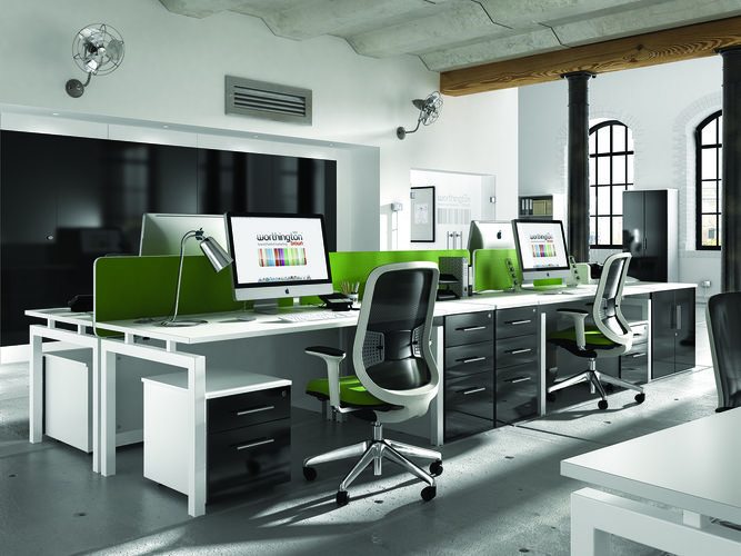 Green, white and black modern office