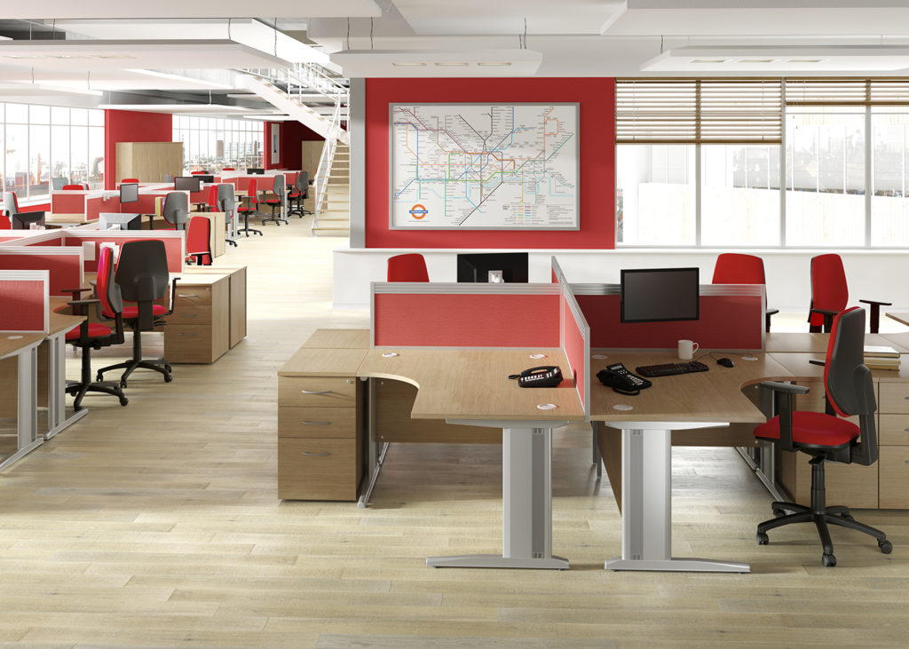 Corner desk pods in office