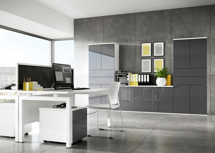 An office with desk and office storage.