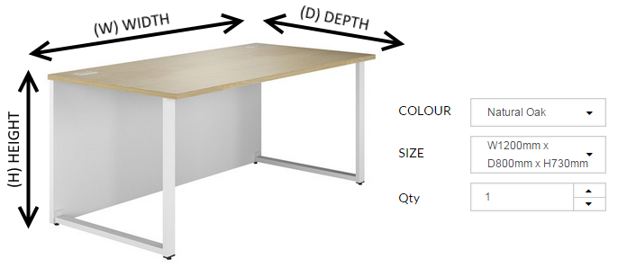 Desk height, width and depth illustration