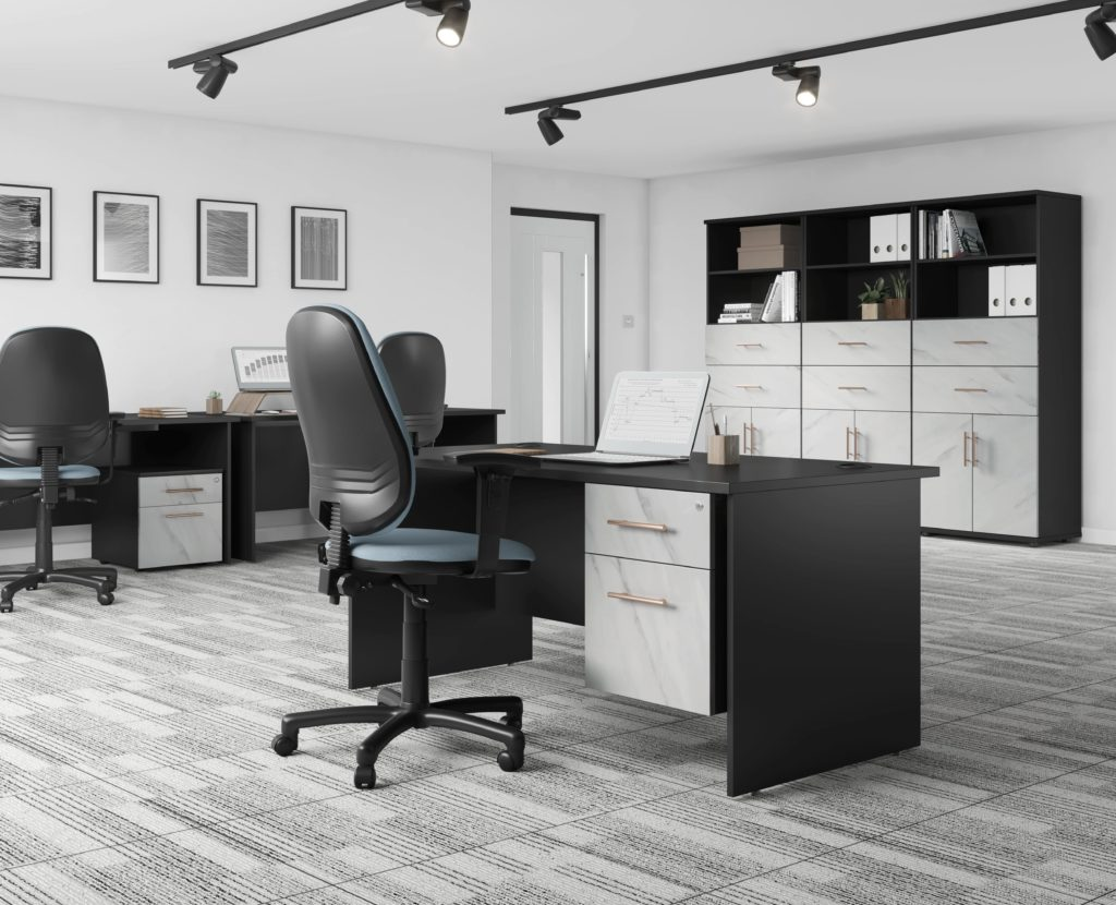 Carbon office furniture range marble finish