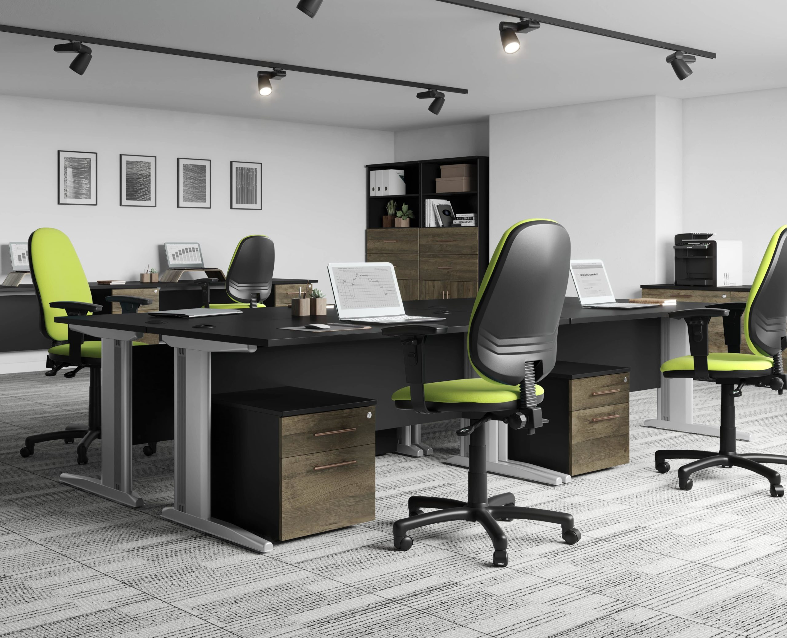 Carbon office furniture range with oak finish