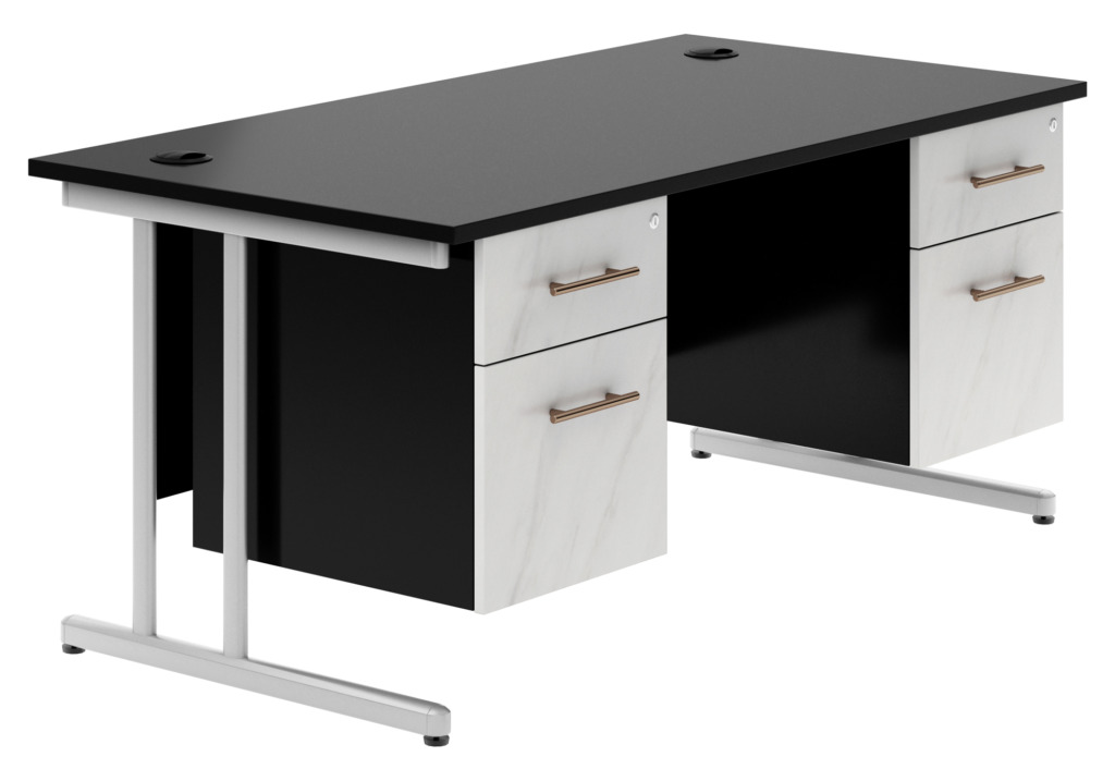 Carbon Cantilever Desk with Double Pedestal could be ideal for using as a gaming desk