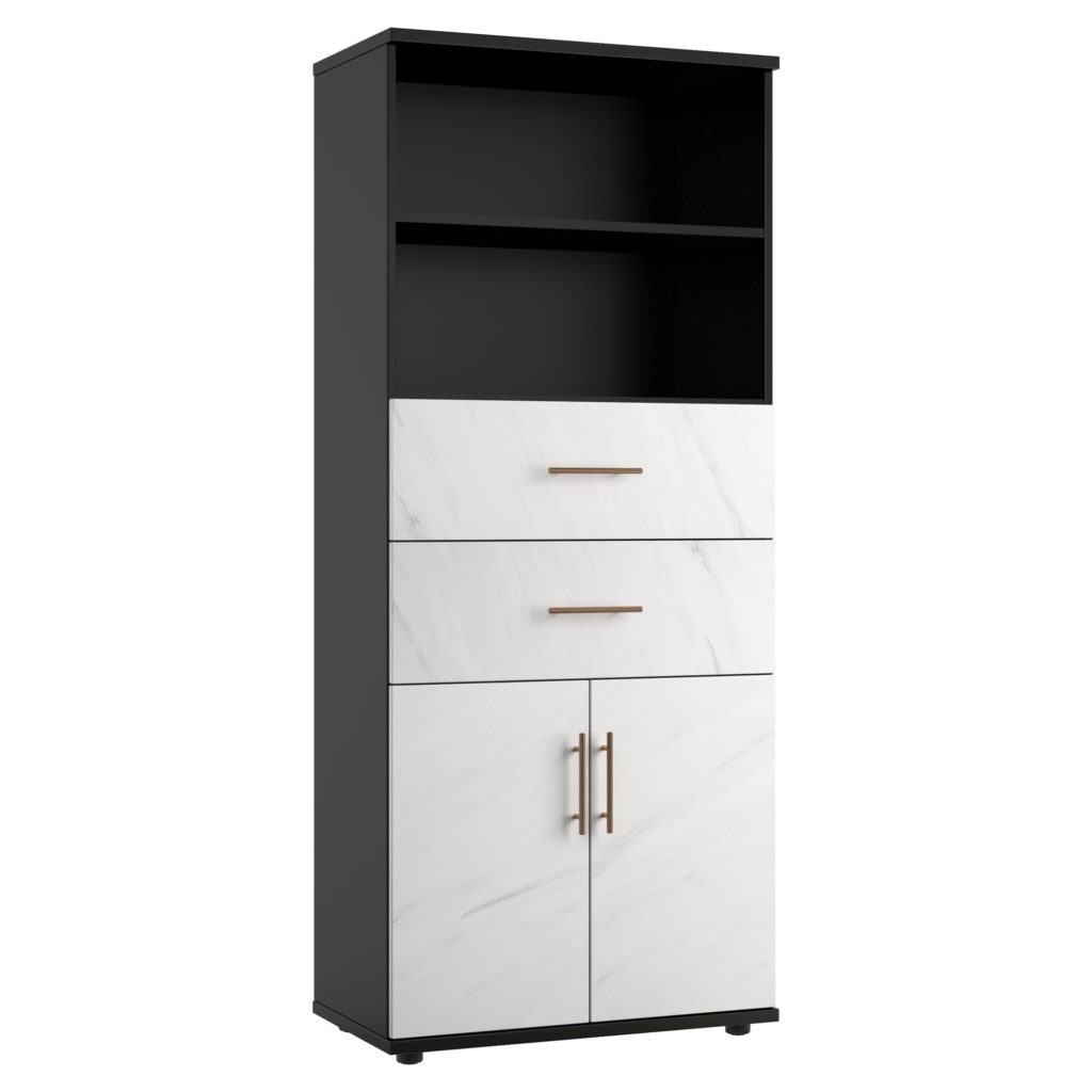 Carbon office combination cupboard with marble finish