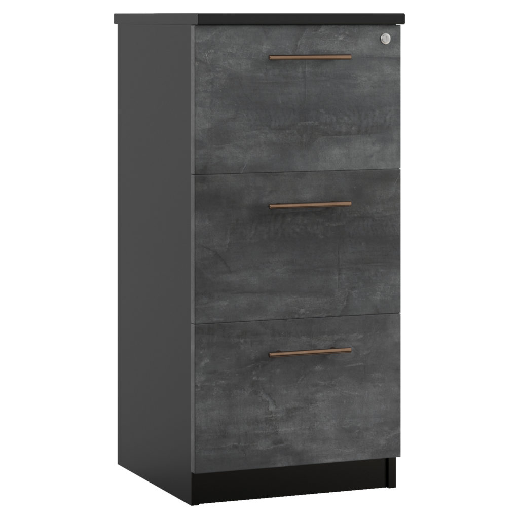 Carbon office filing cabinet with slate finish