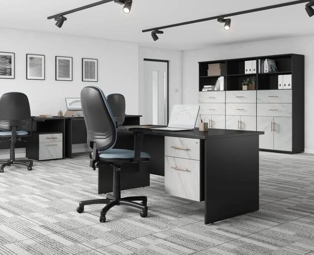 Carbon office furniture scene, including chair, desks and office storage.