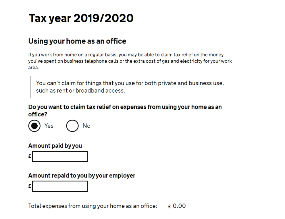 HMRC P87 Form - Working from home tax relief