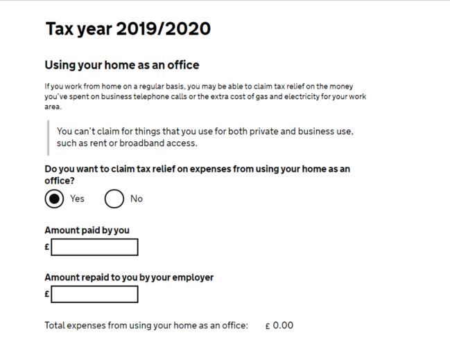 HMRC Tax relief claims form