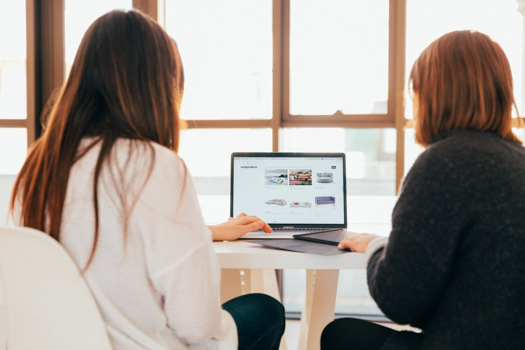 Two women looking at a laptop.